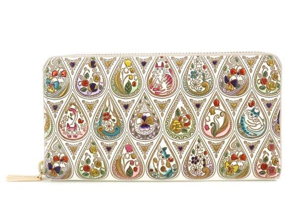 画像1: 花と猫<ミックス> ぐるっとファスナーの長財布[n][t]