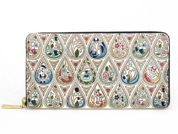 画像1: 花と猫<インディゴ> ぐるっとファスナーの長財布[n]