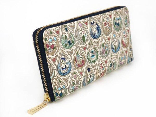 画像2: 花と猫<インディゴ> ぐるっとファスナーの長財布[n]