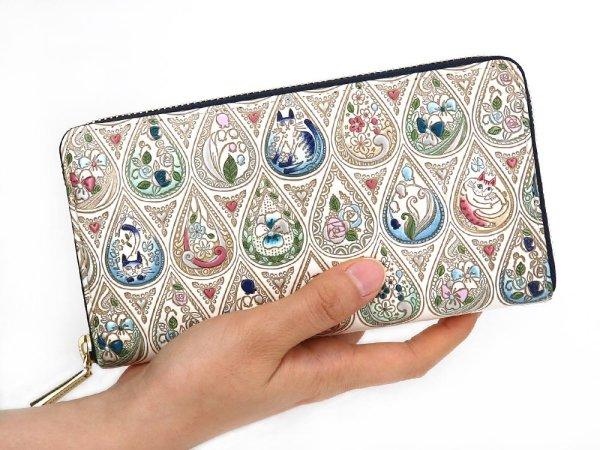 画像4: 花と猫<インディゴ> ぐるっとファスナーの長財布[n]