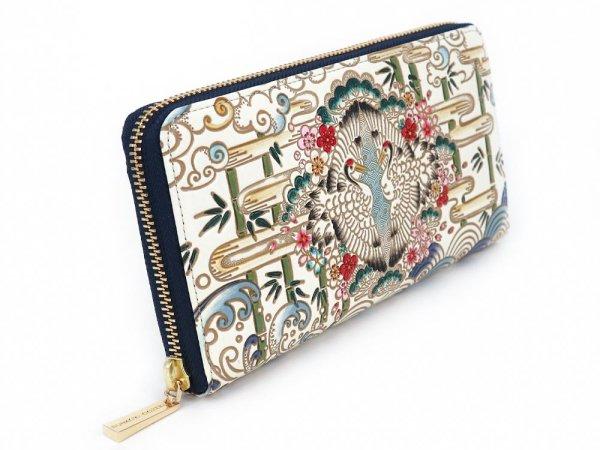 画像2: むかい鶴 ぐるっとファスナーの長財布 (絢爛柄)[n][t]
