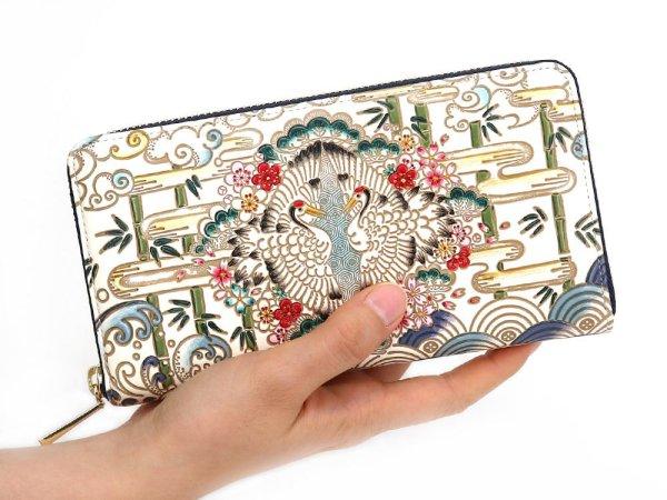 画像4: むかい鶴 ぐるっとファスナーの長財布 (絢爛柄)[n][t]