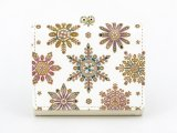 雪の結晶 三つ折りミニ財布(金唐柄)[n][t]
