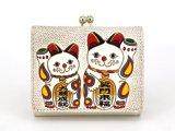 招き猫 三つ折りミニ財布[n][t]