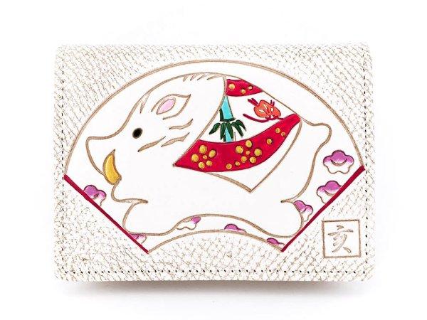 画像1: 【干支財布】亥扇面 箱まち小銭入れ