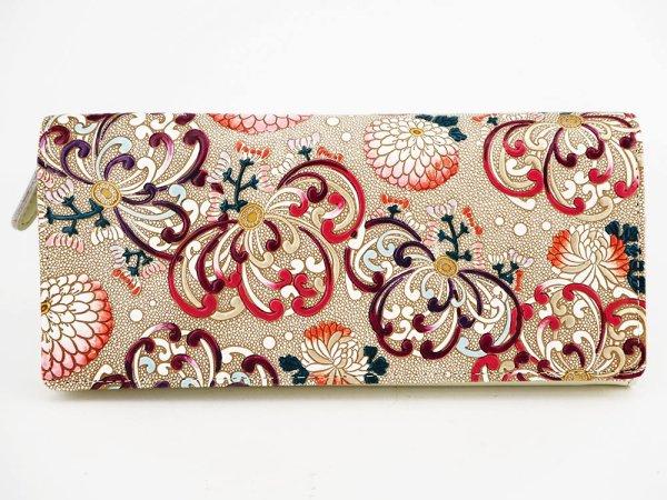 画像1: 乱菊<赤紫> L字ファスナーのスリム束入れ
