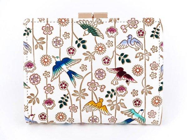 画像1: 枝垂れ花鳥 箱まち口金付き札入れ
