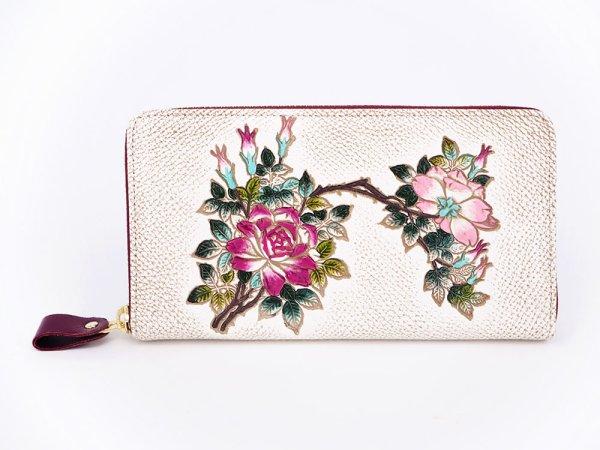 画像1: 薔薇 ぐるっとファスナーの長財布