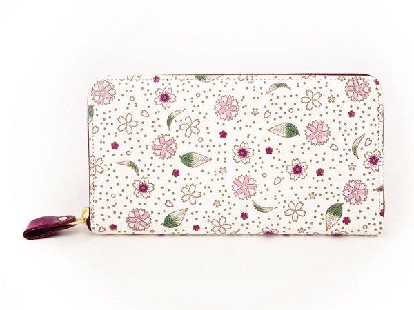 画像1: 桜散らし ぐるっとファスナーの長財布