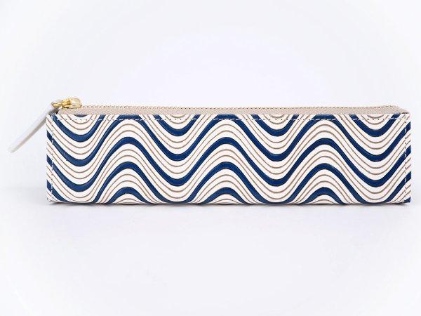 画像1: 横波<紺> 三角マチのペンケース